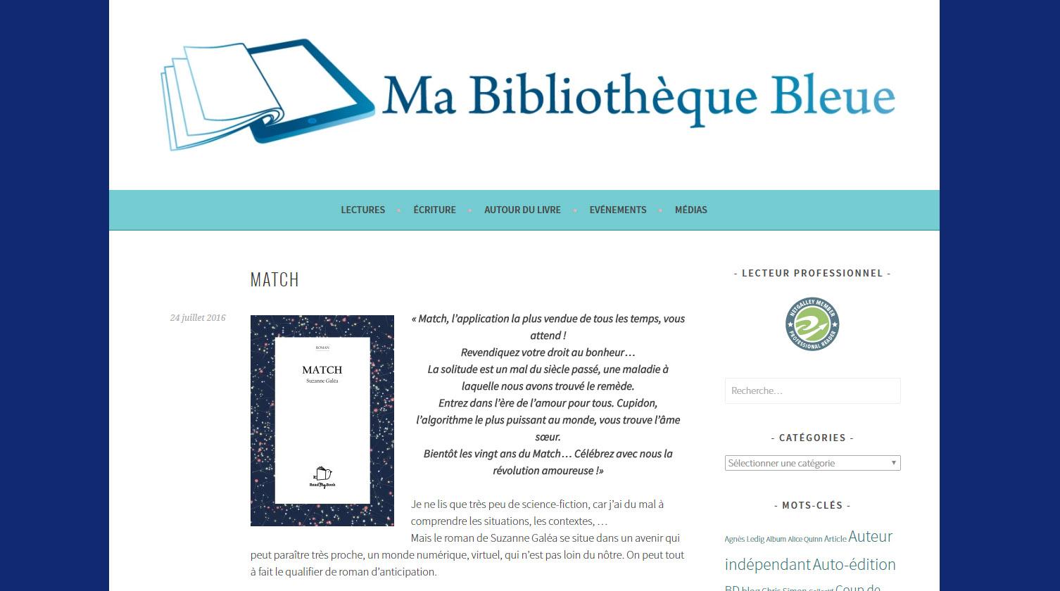 Ma bibliothèque bleue : Match, de Suzanne Galéa