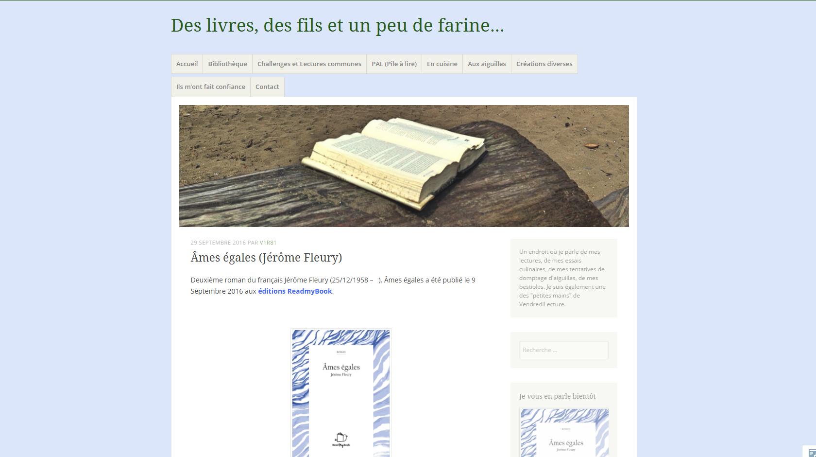 Des livres, des fils et un peu de farine : Âmes égales de Jérôme Fleury