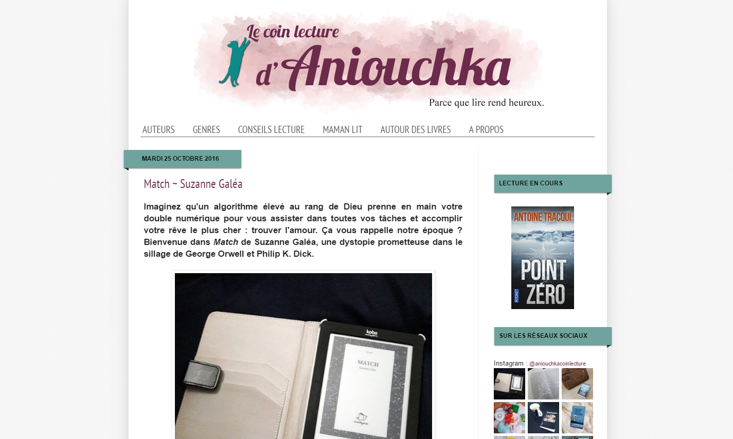 Le coin lecture d'Aniouchka : Match de Suzanne Galéa