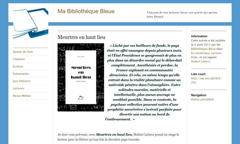 Ma Bibliothèque Bleue : Meurtres en haut lieu
