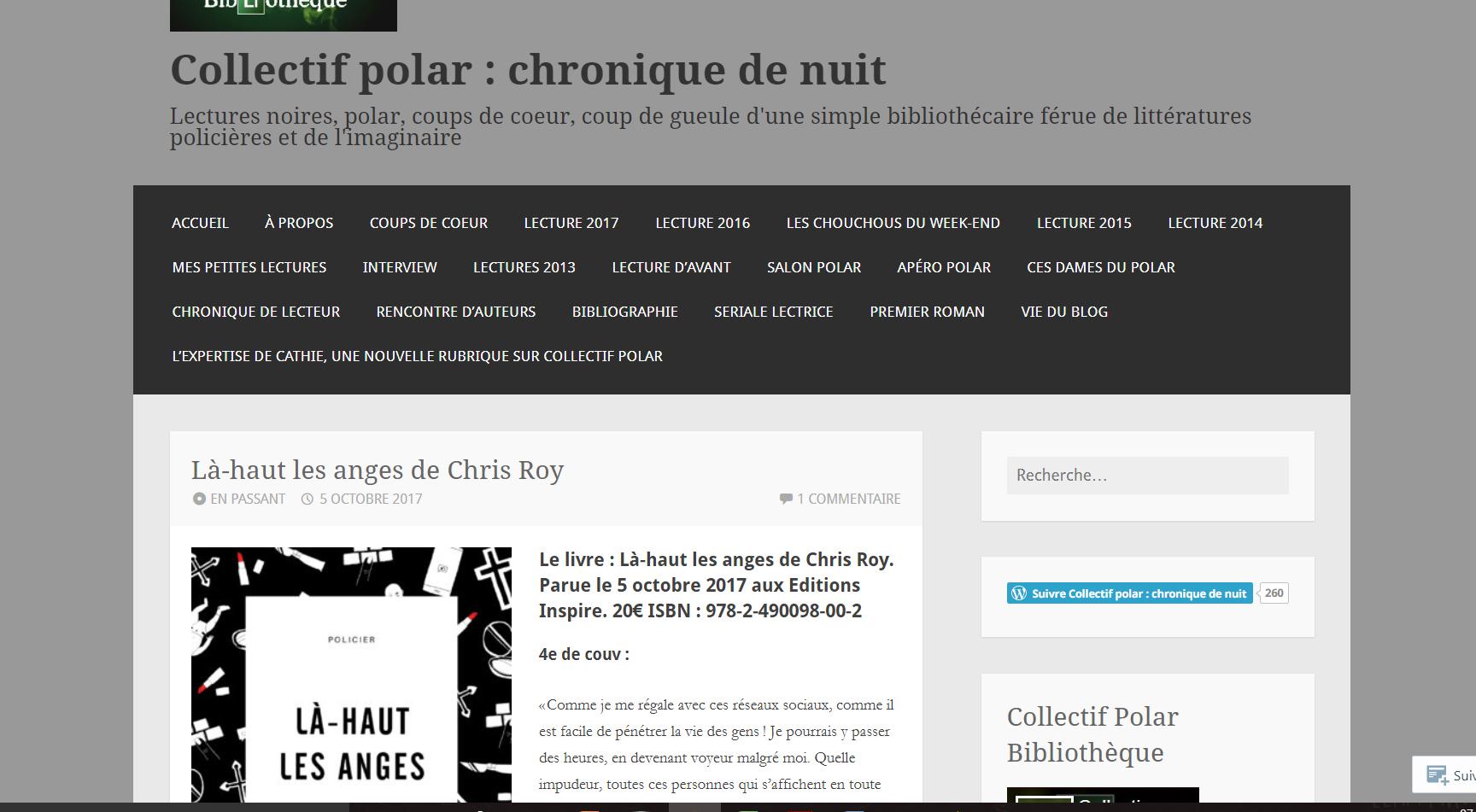 Collectif polar : Là-haut les anges, Chris Roy