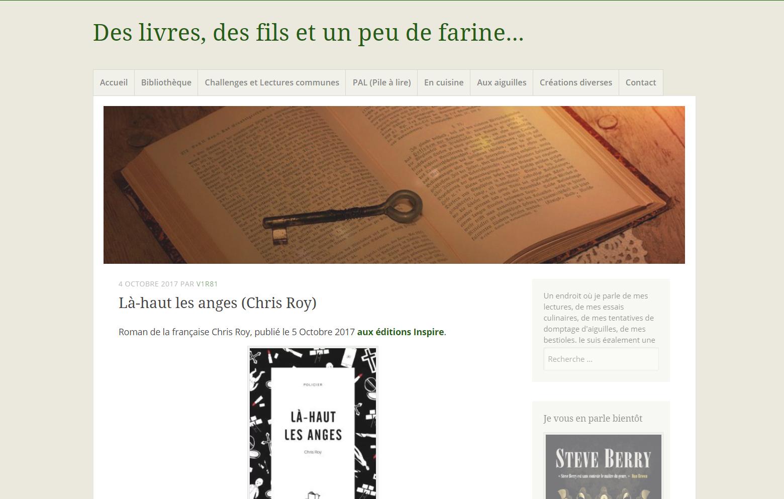 Des livres, des fils et un peu de farine : Là-haut les anges, de Chris Roy