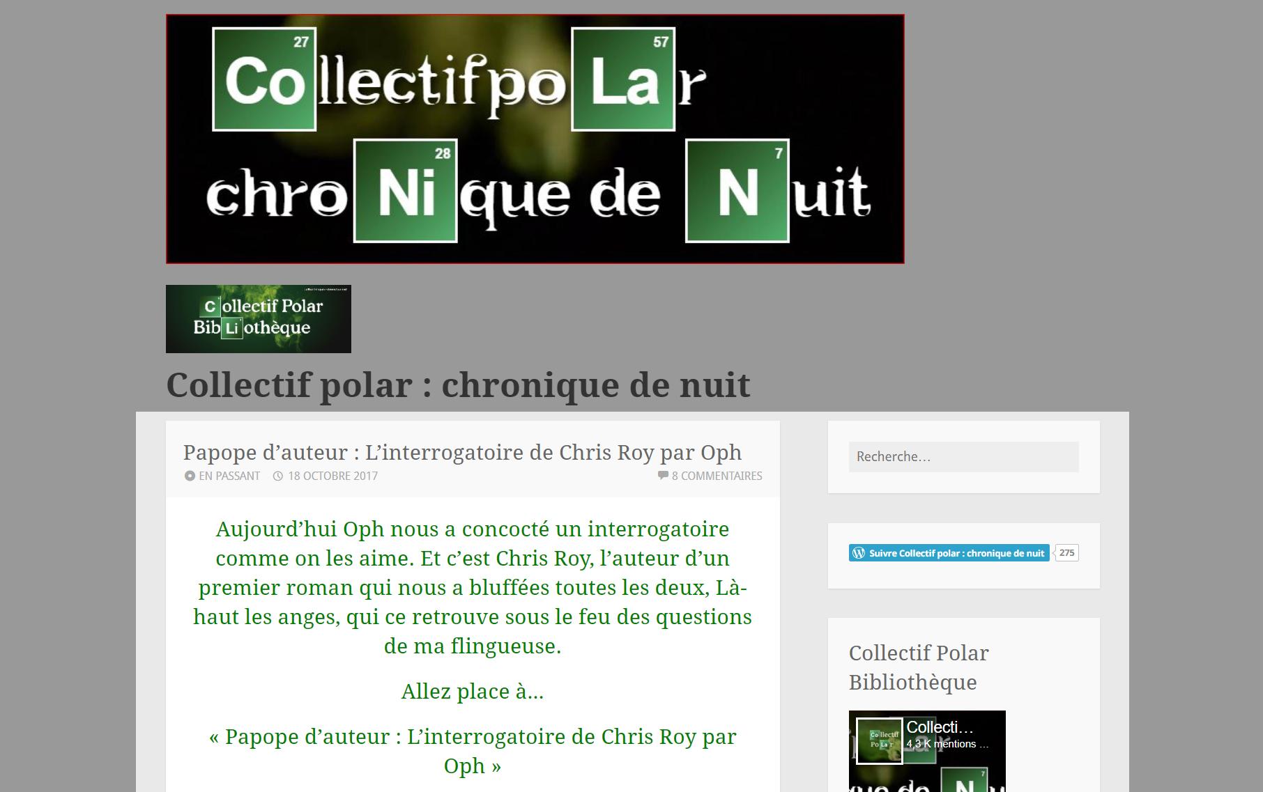 Collectif Polar : Papote avec Chris Roy