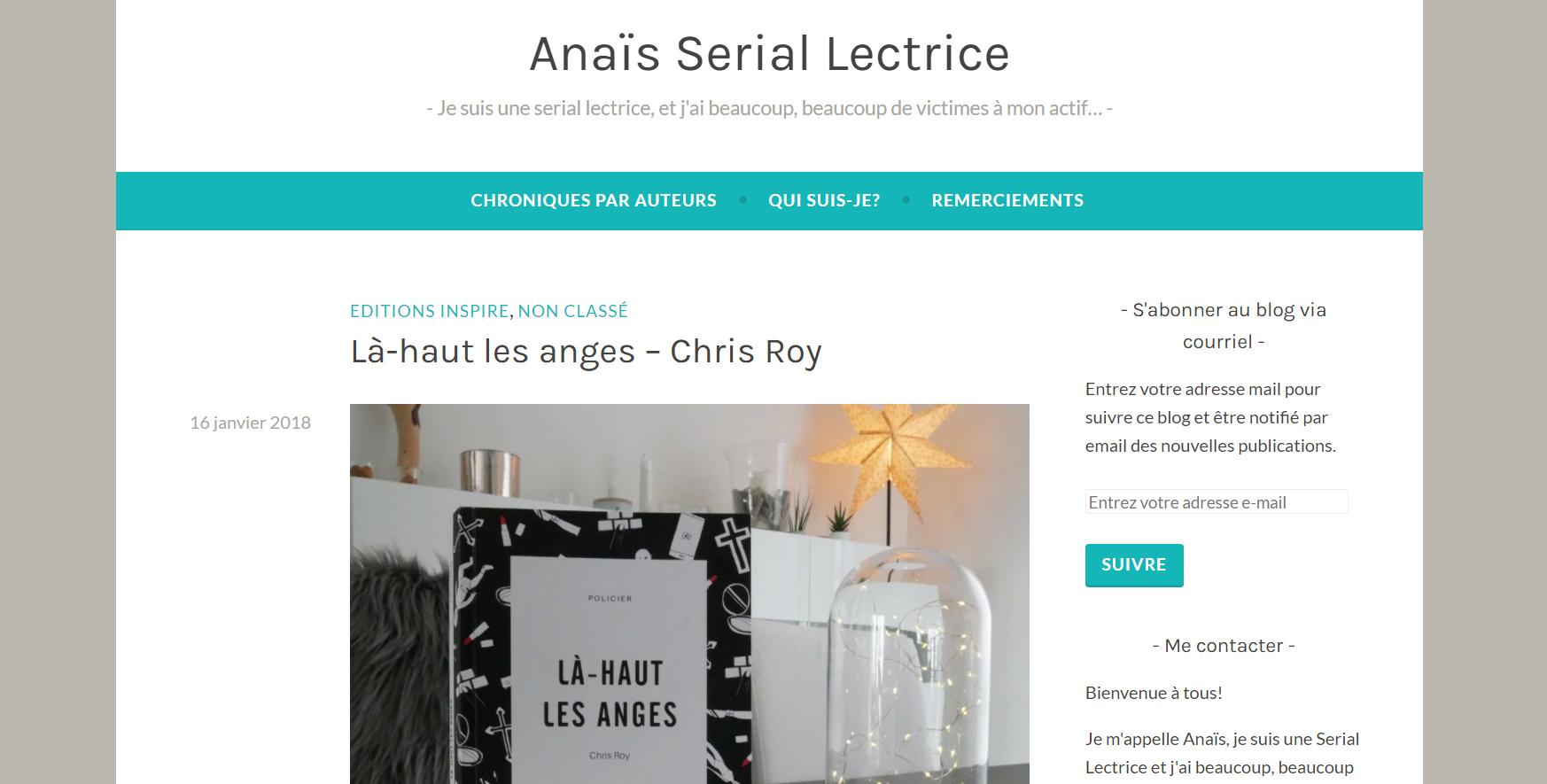Anaïs Serial Lectrice : Là-haut les anges, Chris Roy