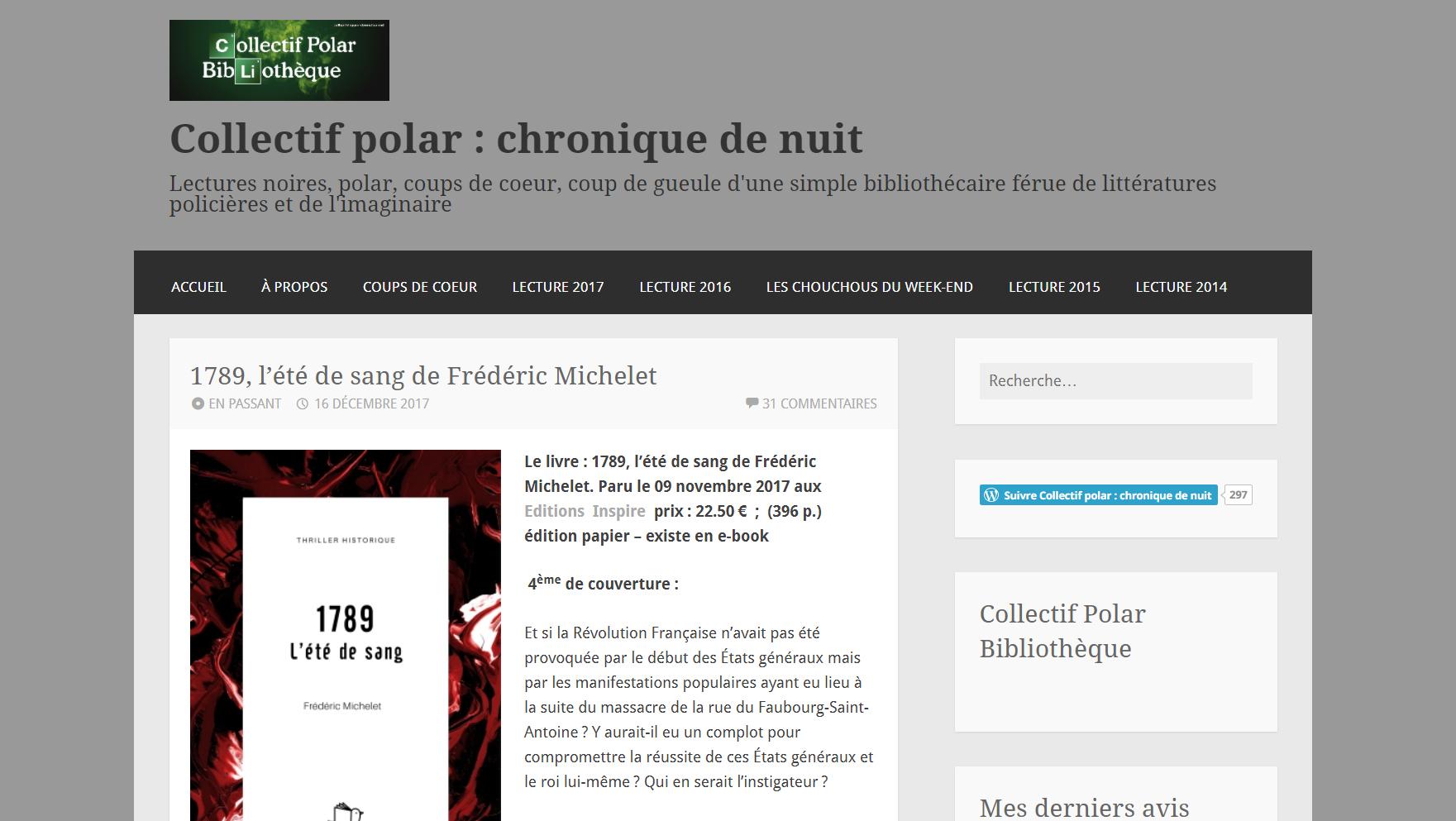 """Collectif Polar, """"1789, l'été de sang"""""""