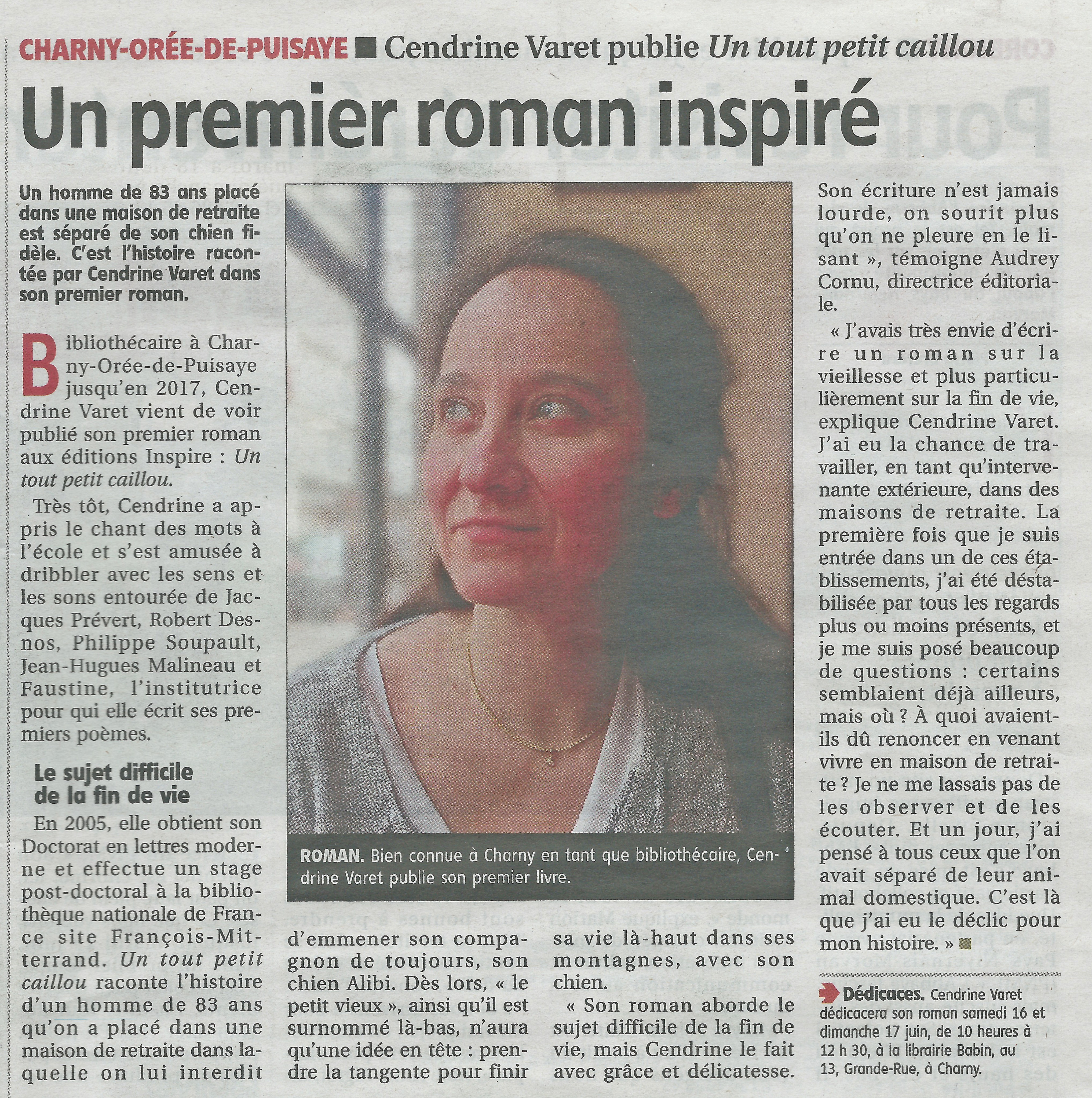 """L'Yonne Républicaine : """"Un tout petit caillou"""", Cendrine Varet"""