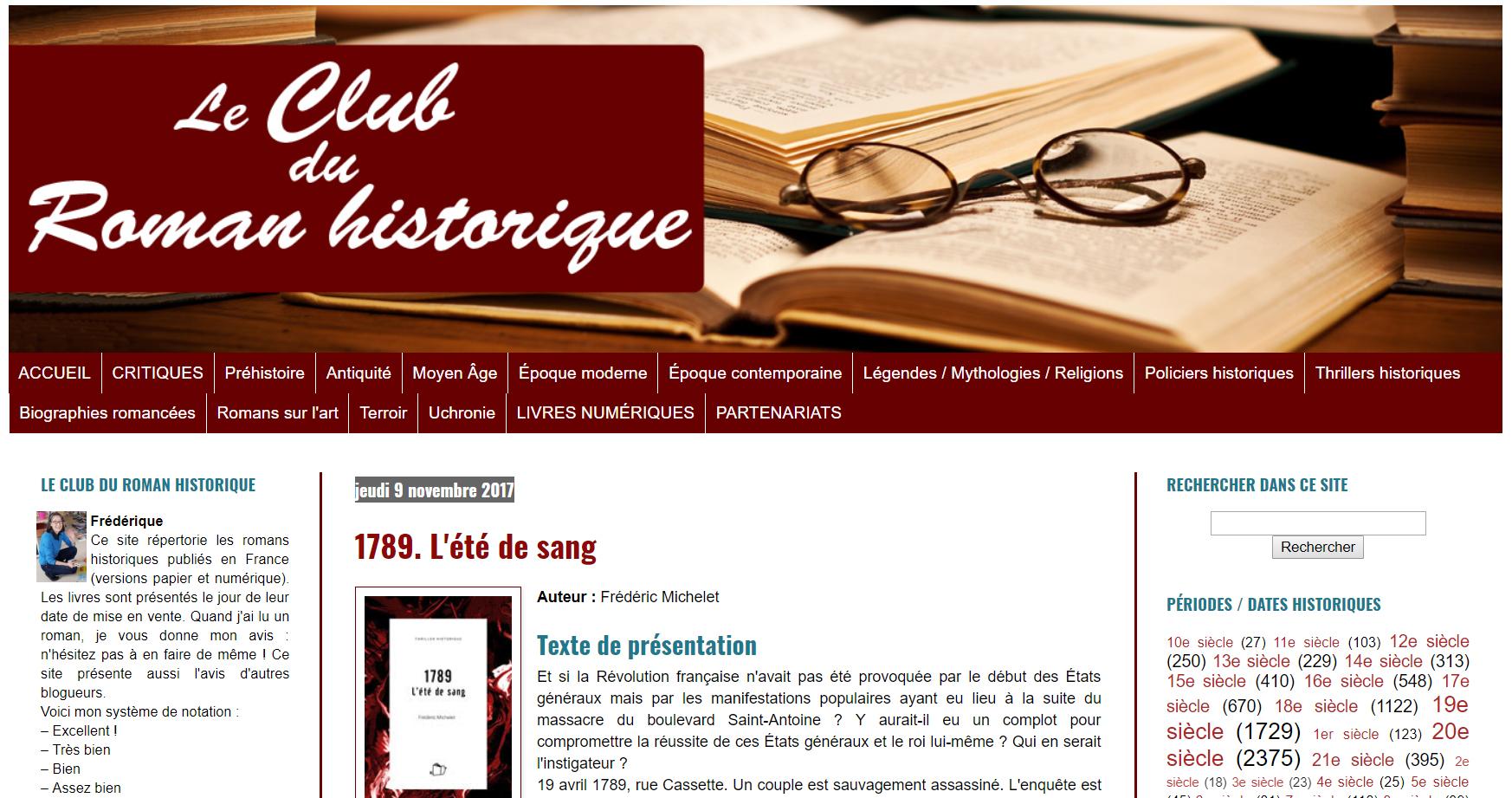 Le club du roman historique: : 1789, l'été de sang