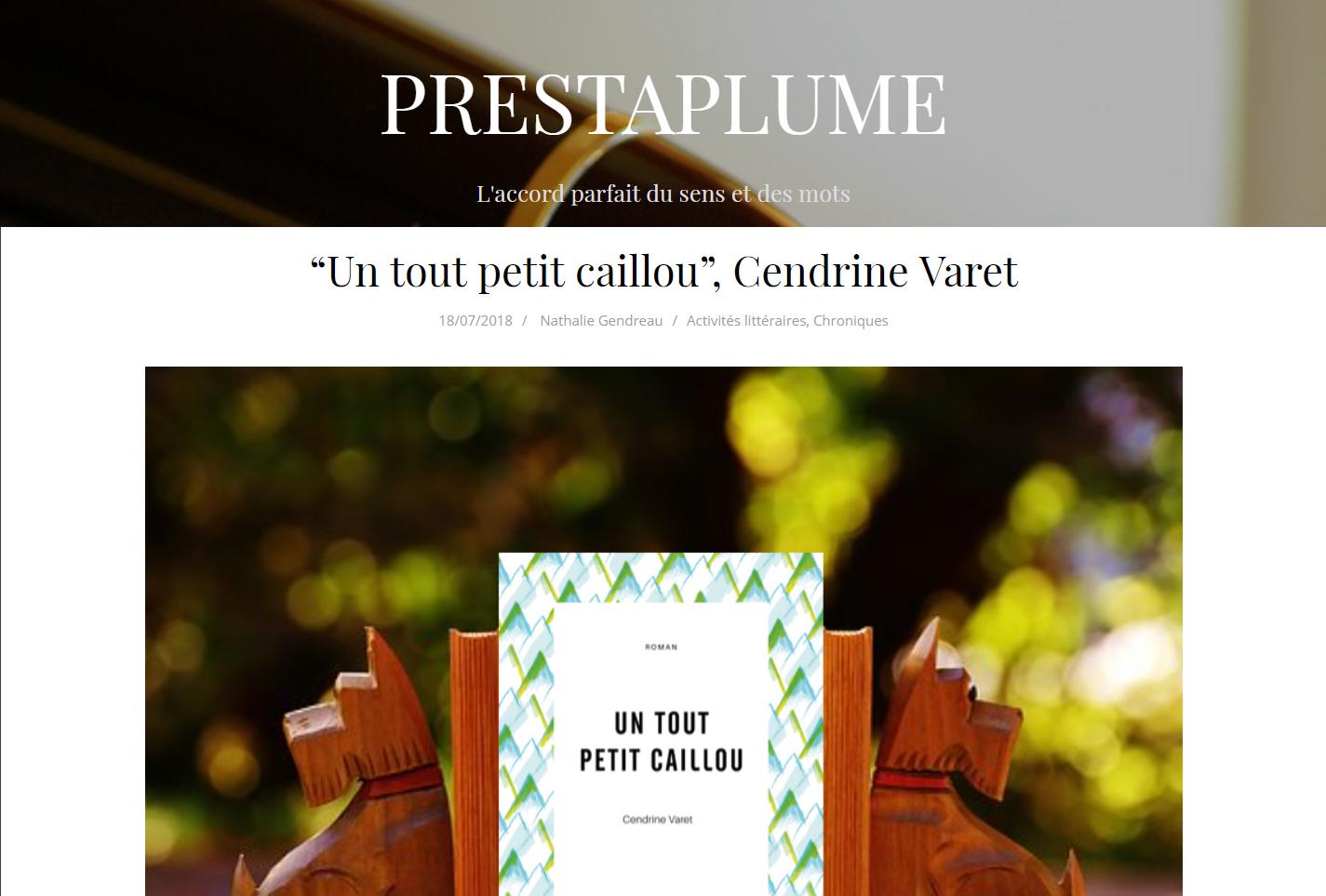 Prestaplume aime Un tout petit caillou, de Cendrine Varet