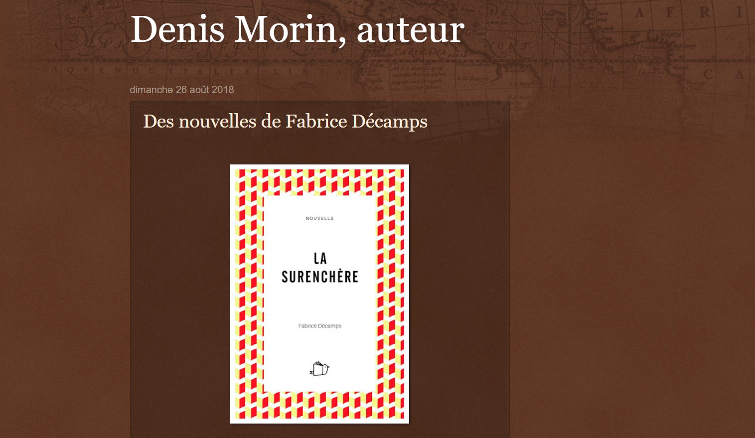 Denis Morin parle des nouvelles de Fabrice Décamps