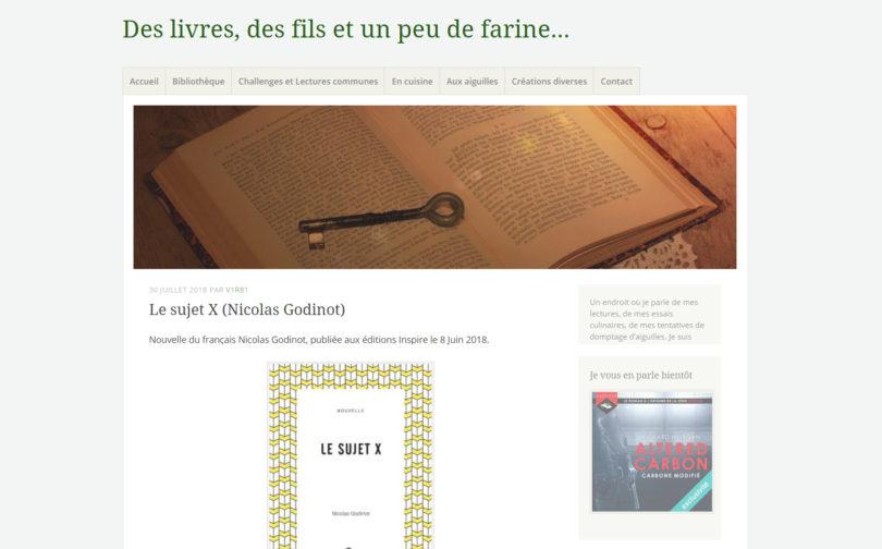 Des livres, des fils et un peu de farine : Le sujet X