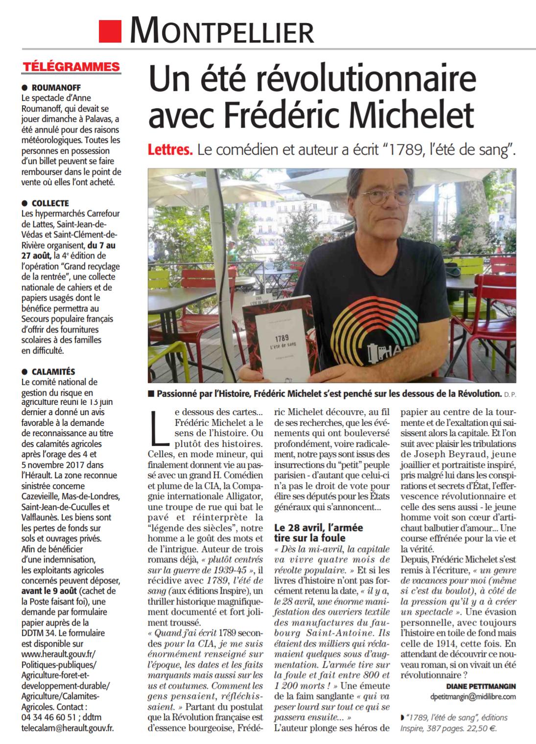 Frédéric Michelet dans le Midi Libre