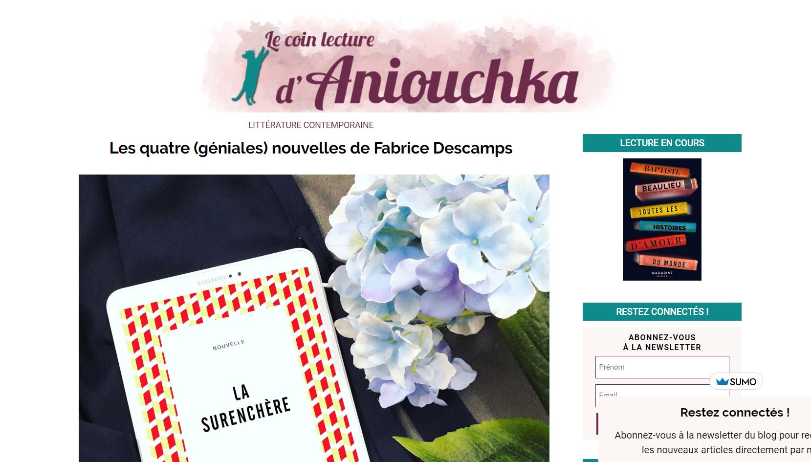 Le coin lecture d'Aniouchka : nouvelles de Fabrice Décamps