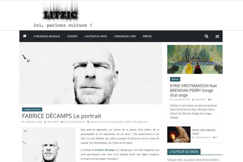 Fabrice Décamps, auteur du mois Litzic